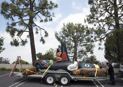 Totem pole on the move, L.A. ©Nancy Bleck, Slanay Sp'ak'wus