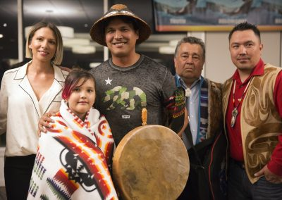 Actor Adam Beach and Family are blanketed by Lummi Nation in L.A., ©Nancy Bleck, Slanay Sp'ak'wus